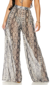 Sheer mesh cover up palazzo pants with reptile snake print, high waist, flowing wide flared legs, and wide elastic waistband.