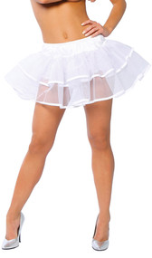 """Mesh double layer petticoat with contrast trim and satin elastic waistband. While lying flat, top layer measures 6"""" long, bottom layer measures 10""""."""