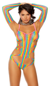 Sleeveless crochet teddy with rainbow stripes, criss cross pink spaghetti straps, sexy cut outs and matching arm sleeves. Two piece set.