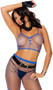 Fence net cami crop top with spaghetti straps and button front. Matching leggings included. Two piece set.