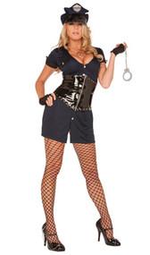 Lieutenant Lockdown costume includes dress, vinyl zip-front waist cincher, fingerless gloves, plastic handcuffs and hat. Five piece set.