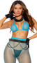 Diamond net bra top with adjustable triangle cups, halter neck and tie back. Matching leggings included. Two piece set.