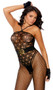 Sleeveless crochet bodystocking with faux halter neck, spaghetti straps and open crotch. Faux pothole teddy with wide net pantyhose design.