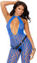 Sleeveless fishnet bodystocking with chevron striped design, halter neck, large keyhole front, and open crotch.