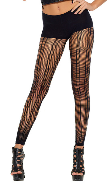 Crochet footless pantyhose with cut out slashed design, double vertical striped pattern, and semi-opaque shorts.