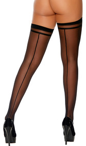 Sheer thigh highs with back seam and striped tops.