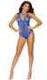 Sleeveless lace teddy with halter neck, keyhole front, and open bottom.