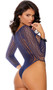 Long sleeve crochet teddy with feather design, high cut on the leg, and thong cut back.