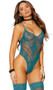 Sleeveless crochet lace teddy with plunging neck, cut out chevron design, criss cross spaghetti straps, high cut on the leg, and thong cut back. Matching thigh high stockings with lace top also included. Two piece set.