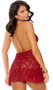 Sheer floral lace babydoll with plunging V neckline, halter neck, and flutter skirt. Matching panty included. Two piece set.