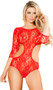 Sheer floral lace teddy featuring three quarter length sleeves, cut out sides, open back and cut out bottom. Also includes garter loops for the use of detachable garters (not included).