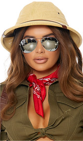 Safari style costume hat is made out of hardened straw and features a faux leather brown accent strap over the visor, side vents, and inside forehead pad for comfort and fit.