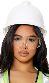 Construction style costume hard hat features an adjustable chin strap and a removable inner lining with ratcheting fitment dial that allows for the hat to be adjusted.