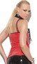 Vinyl zip front corset with cut out lace up detail, boning and adjustable buckle straps. Vinyl plain back.