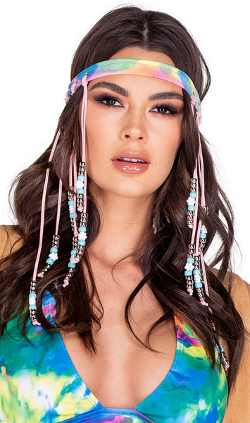 Soft faux suede tie dye headband features faux leather cords with light blue and silver beads with white daisy shaped flower beads.