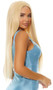 Long blonde straight wig with center part. Unisex synthetic wig.