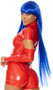 Long bright blue straight wig with bangs. Unisex synthetic wig.