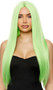 Long light green straight wig with center part. Unisex synthetic wig.