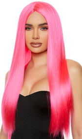 Long pink straight wig with center part. Unisex synthetic wig.