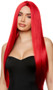 Long red straight wig with center part. Unisex synthetic wig.