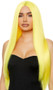 Long bright yellow straight wig with center part. Unisex synthetic wig.