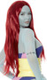 Long burgundy straight wig with center part. Unisex synthetic wig.