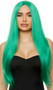 Long green straight wig with center part. Unisex synthetic wig.