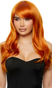Long light orange wig with slight curls and side swept bangs. Unisex synthetic wig.