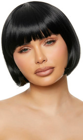 Black bob style wig with bangs. Unisex synthetic wig.