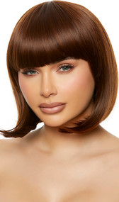 Brown bob style wig with bangs. Unisex synthetic wig.