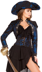 Captain of the Night deluxe pirate costume includes brocade jacket with fringe epaulettes and large button detail, ruffled bra top, brocade waist cincher with lace up closure, and asymmetrical layered skirt. Four piece set.