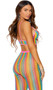 Rainbow striped crochet net cami crop top with sheer feather design, spaghetti straps, front buttons and contrast pink trim. Matching leggings with elastic waist also included. Two piece set.