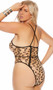 Sheer leopard print teddy with contrast cage style strappy details, O ring accent, criss cross shoulder straps, high cut on the leg and cheeky cut thong back.