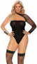 Opaque and fishnet teddy with one shoulder design, long sleeve and cheeky cut back. Matching thigh high stockings also included. Two piece set.