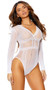 Crochet lace teddy with long sleeves, deep V neck and back, striped design and cheeky cut back.