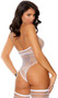 Sheer diamond net sleeveless teddy with striped cage style design, keyhole front, lace halter style neck and thong cut back. Matching thigh high stockings also included. Two piece set.