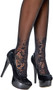 Sheer thigh high with lace top and heart scroll applique.