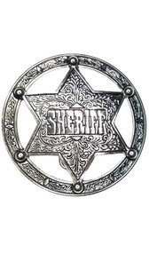 Round belt buckle with SHERIFF star badge in center.