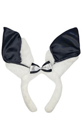 """Furry bunny ears headband with black satin insets on the ears and black and white mini satin bow. Fuzzy covered headband. Measures about 11"""" tall and about 10.5"""" wide. Ears by themselves are about 7"""" tall. Plain faux fur back."""