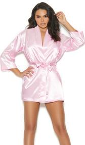 Charmeuse short length kimono style robe with detachable belt and three quarter sleeves.