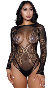 Long sleeve fishnet and lace teddy with high wide neck circular design.