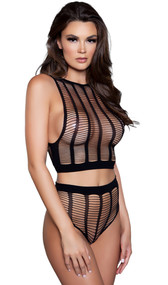 Sleeveless net cami crop top with high neckline, cut outs and wide vertical stripes. Matching booty shorts with high waist and cheeky cut back also included. Two piece set.