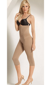 Seamless high waist capri legging body shaper with firm compression.