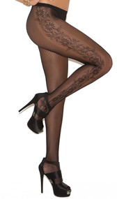 Net pantyhose with side floral design.