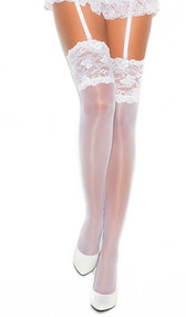 Sheer thigh high with 5 inch lace top.
