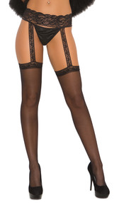Sheer lace top thigh high stockings with attached lace garter belt.