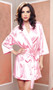 Satin three quarter sleeve robe with matching sash.