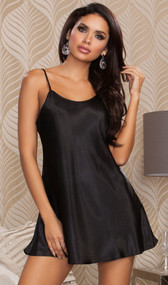 Satin mini chemise with adjustable straps.