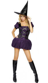 Sexy Sorceress witch costume includes dress with built-in petticoat and hat. Two piece set.