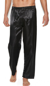 Charmeuse satin unisex pants with button closure and elastic waistband. No pockets.